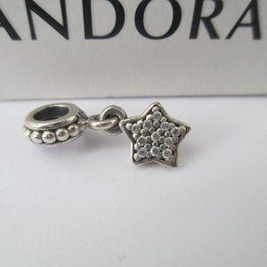 pandora Jewelry - Authentic Pandora Sterling Silver Dangle Star Pave